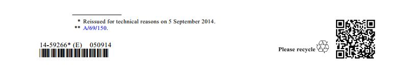 "Screenshot of footnote ""* Reissued for technical reasons on 5 September 2014."""