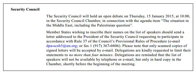 Announcement of Security Council open debate from the Journal No. 2015/7, 13 Jan 2015.