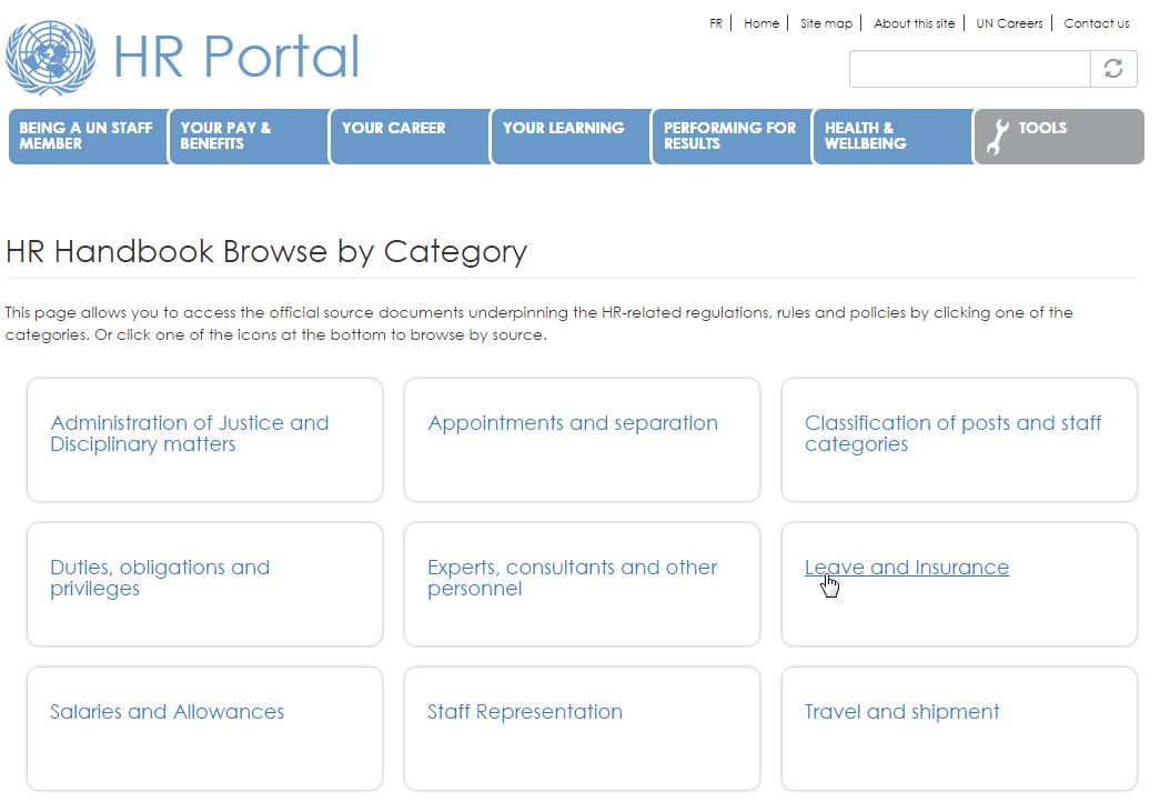 screenshot of Human Resources Portal: HR Handbook Category page