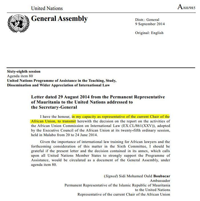 "Image of A/68/985 with highlighted text , ""in my capacity as representative of the current Chair of the African Union, to transmit """