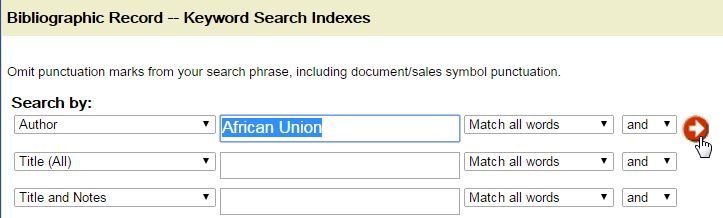 Screenshot of UNBISnet search for Author = African Union