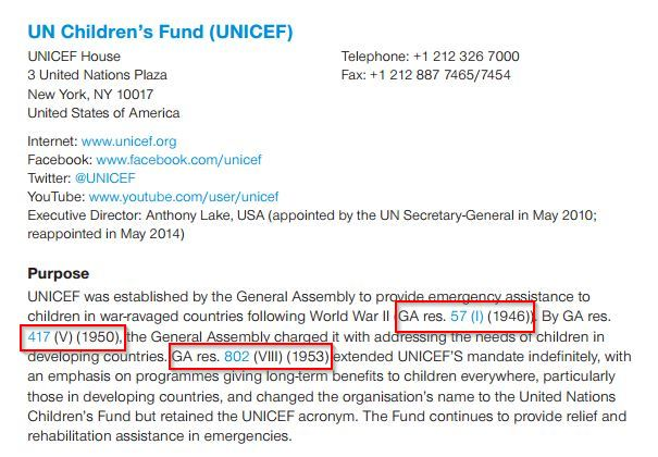 UN Handbook entry on UNICEF highlighting mandates