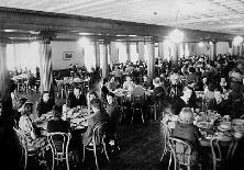 Students eating in the old dining room