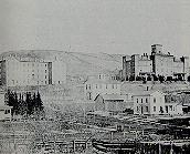 Campus photo from 1800s showing campus buildings