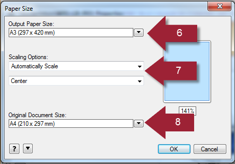 How do I resize an A4 document to print on A3 paper from a High GSM