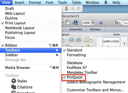 Enabling the Write-N-Cite toolbar in Microsoft Word for Mac