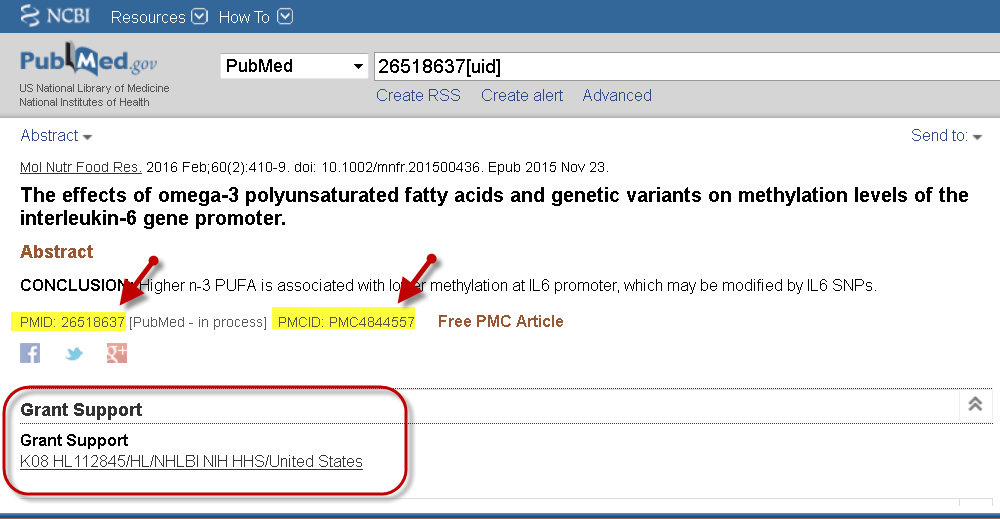 PubMed record screenshot showing both PMID and PMCID and an NIH grant number