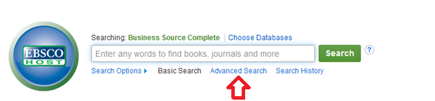 Screenshot of selecting Advanced Search in the Business Source Complete database