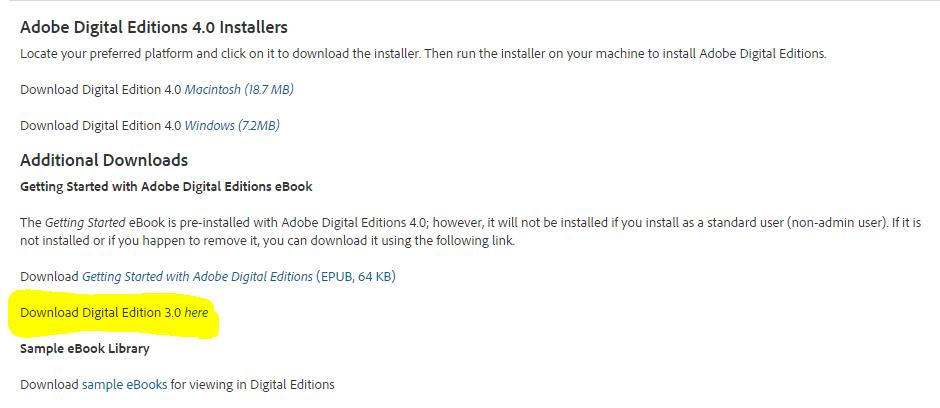 Installation and use adobe digital editions.