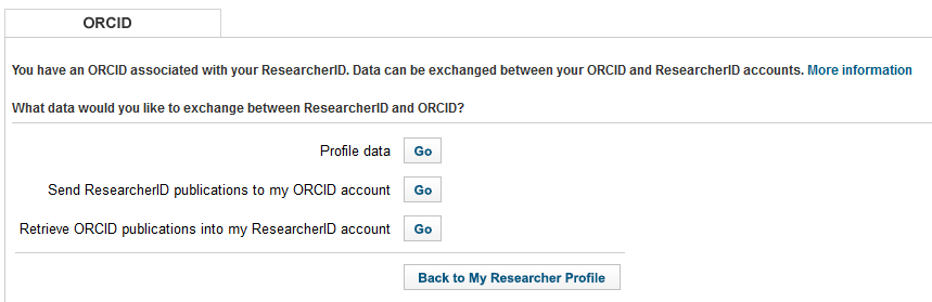 ResearcherID - Send to ORCID