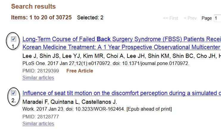 Checking boxes in PubMed Search Results