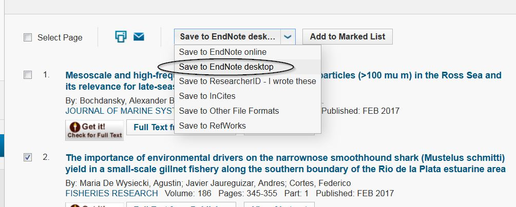Selecting to send to EndNote
