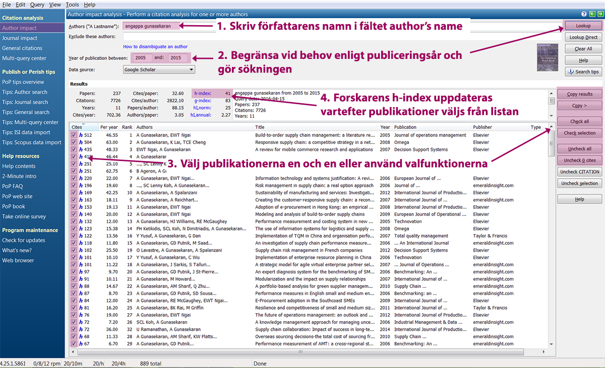 Skärmdump av Publish or Perish