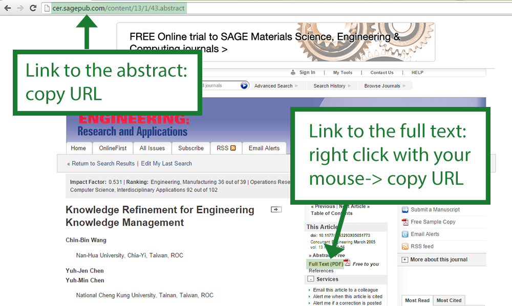 Sage permalink: Link to the abstract-> copy URL, link to the full tex-> right click mouse and copy URL