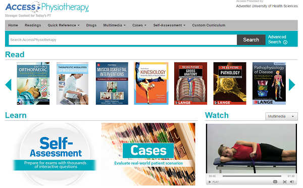 Booksmedia physical therapy program adu resource guides at one great database tool all future pts should use is accessphysiotherapy this database indexes and offers full text material to 25 key textbooks and fandeluxe Image collections