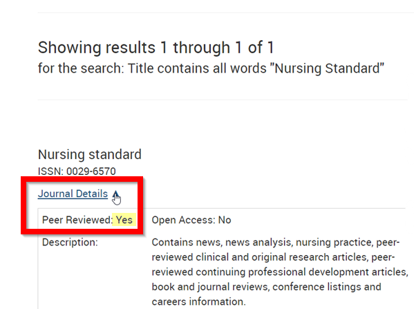 Results of search for Nursing Standard on list of E-Journals. Shows journal details with Peer Reviewed marked Yes.