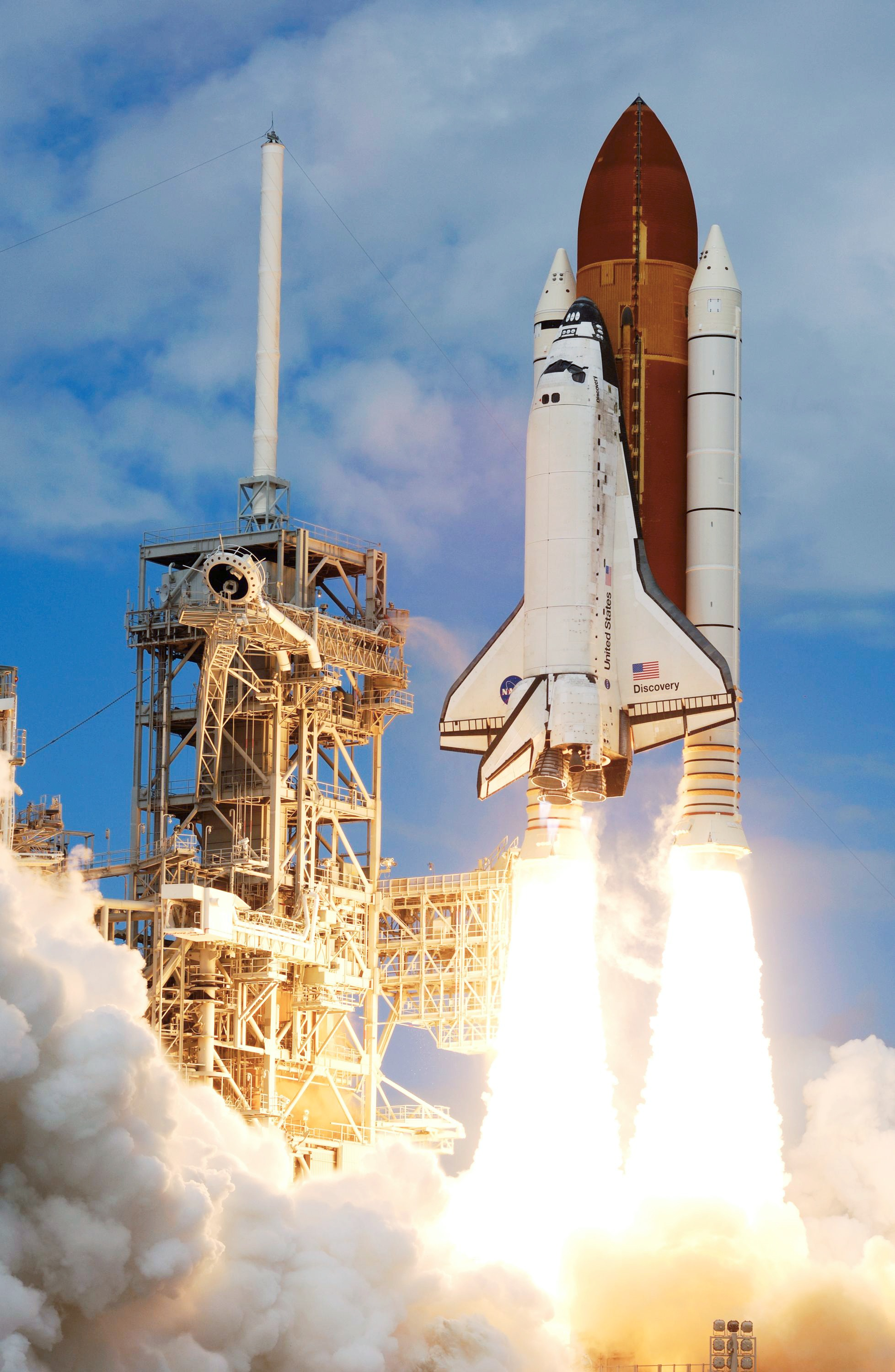 The Space Shuttle Discovery and its seven-member STS-120 crew head toward Earth-orbit and a scheduled link-up with the International Space Station.