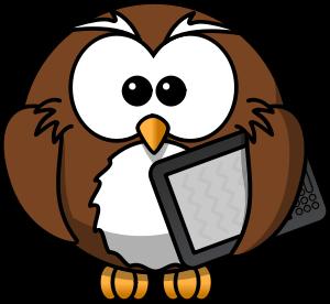 cartoon owl holding a tablet