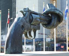 Knotted Gun Sculpture at the United Nations New York.
