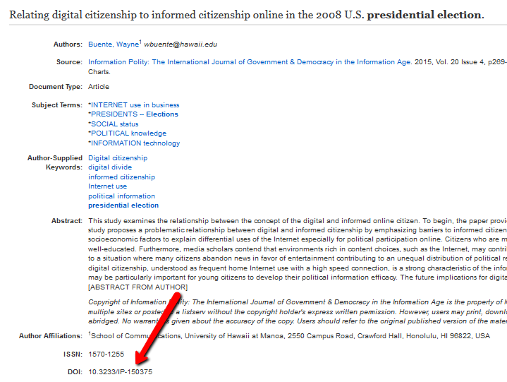 Screenshot of an article record in EBSCOhost