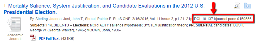 Article citation in search results in EBSCOhost database