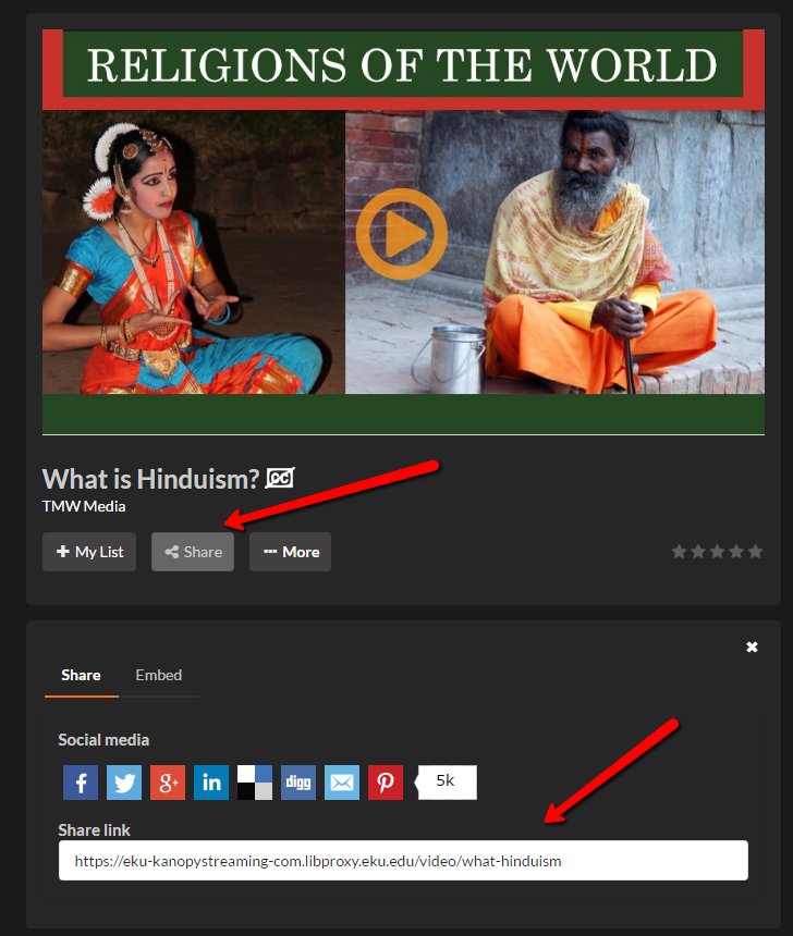 Image of Kanopy video page illustrating button location as well as shared URL field
