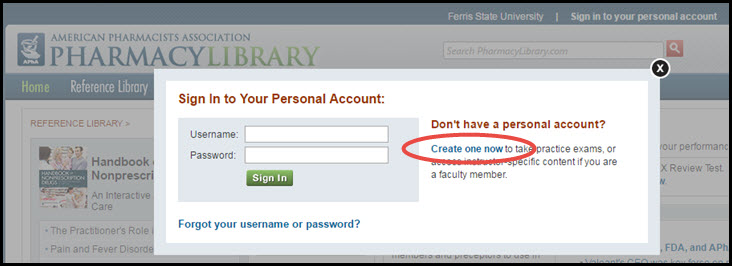 Screenshot with PharmacyLibrary Sign In box pulled up and the link stating Don't have a personal account, Create one now highlighted