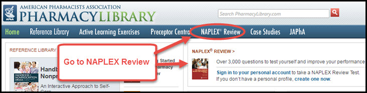 Picture with PharmacyLibrary's top navigation showing and highlighting link to NAPLEX Review