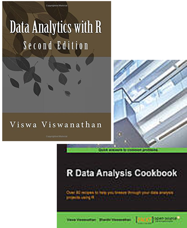 "Covers of ""Data Analytics with R"" and ""R Data Analysis Cookbook"" by Viswa Viswanathan"