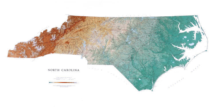 Physical map of North Carolina.