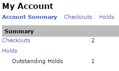 Screencapture of library catalog showing a user's account summary including numbers of Checkouts and Holds
