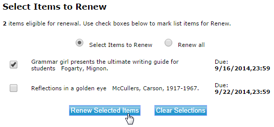 Screencapture of library catalog showing a user's checked-out items with due dates and form tools to renew