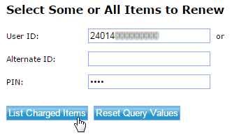 Screencapture of library catalog showing 14-digit barcode number entered as User ID