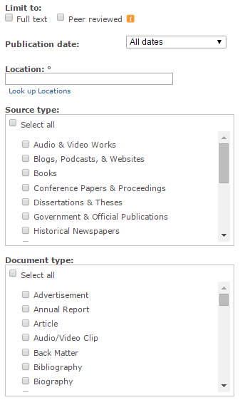 Screencapture of advanced search menu from ProQuest Central