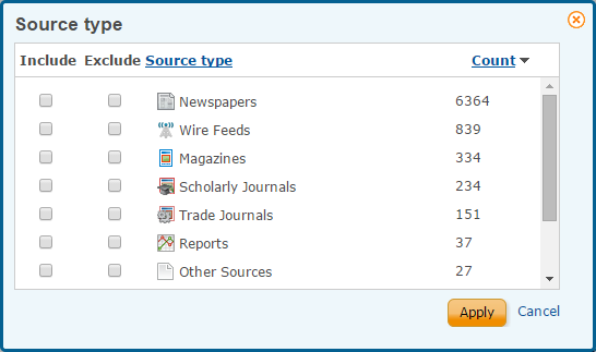 Screencapture of source type menu with options to include or exclude categories from ProQuest Central