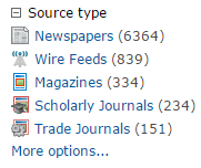 Screencapture of source type options from ProQuest Central