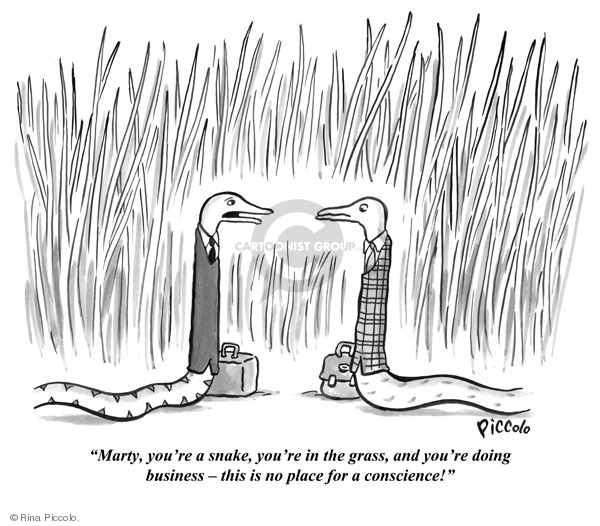 Cartoon about snakes in the grass doing business