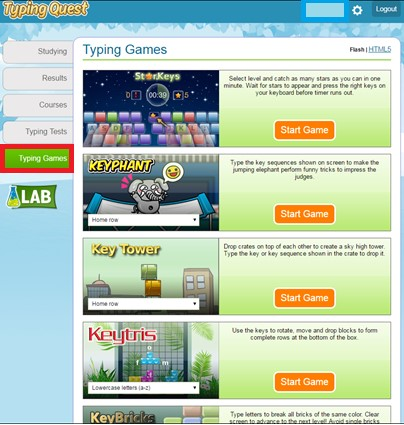 Red box highlighting the Typing Games icon on the left hand side