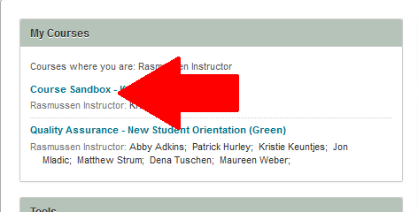 Step One:  Log into the online course platform and select the course in which you want to read and send course mail.