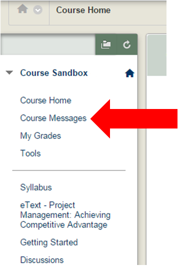 Step Two:  Click Course Messages on the left-hand side of the screen.