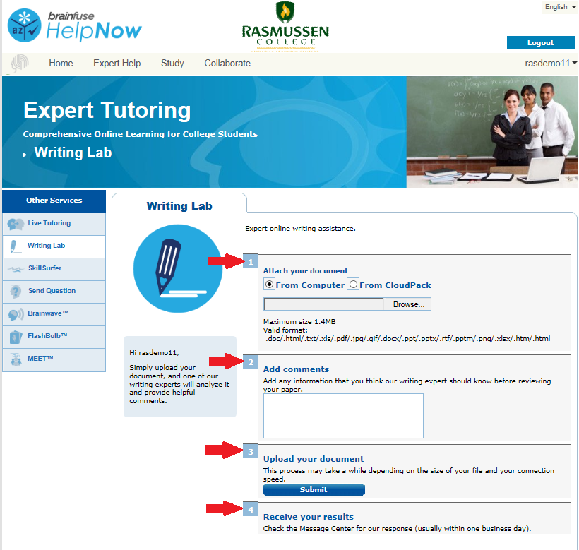 Screenshot of Writing Lab page within Brainfuse