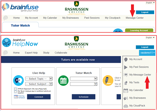 Screenshots of Brainfuse page with red arrow callout for the Message Center