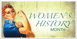 Wonder woman with text Women's History Month
