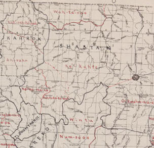 "Map G 04361.E1 1939 .T32 Case C Bancroft, ""Indian stocks and tribes of northern California : based on original maps, manuscripts and field journals of C. Hart Merriam, M.D. / by Zenaida M. Talbot"" (cropped)"