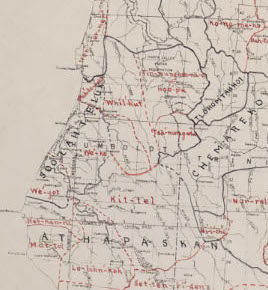 "Map G 04361.E1 1939 .T32 Case C Bancroft, ""Indian stocks and tribes of northern California : based on original maps, manuscripts and field journals of C. Hart Merriam, M.D. / by Zenaida M. Talbot (cropped);"""
