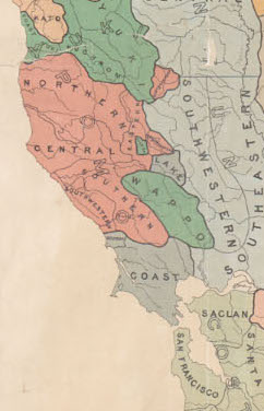 "Map G 04361.E1 1925 .S6 Case C Bancroft, ""Indians of California by stocks and tribes"" (cropped)"