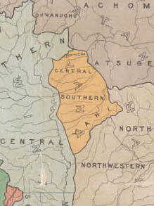 "Map G 04361.E1 1925 .S6 Case C Bancroft, Kroeber's ""Indians of California by stocks and tribes"" (cropped)"