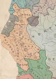 "Map G 04361.E1 1925 .S6 Case C Bancroft, ""Indians of California by stocks and tribes (cropped);"""