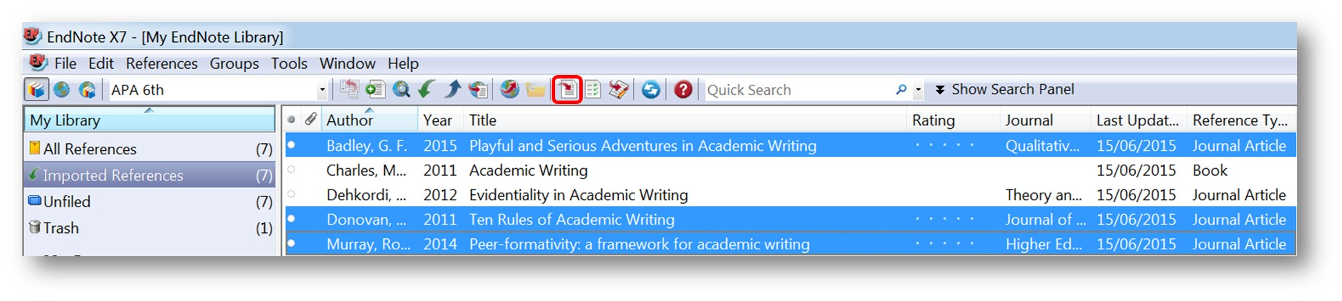 Inserting multiple references endnote university library at click the insert citation icon in the endnote toolbar and the selected citations will automatically be added to your word doc ccuart Image collections