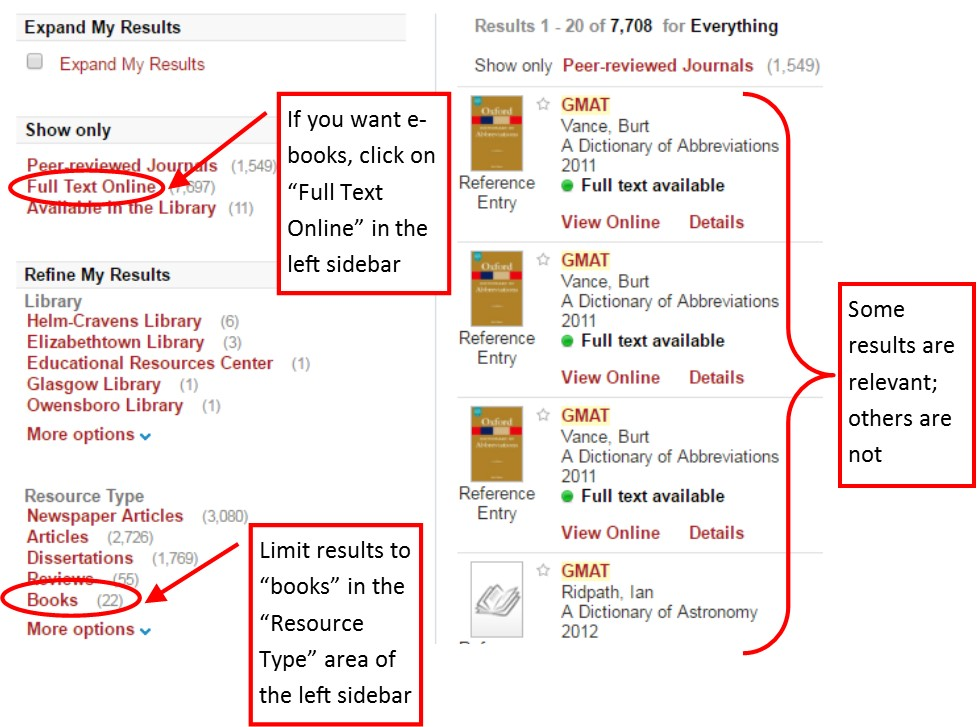 Example of results of GMAT search in One-Search